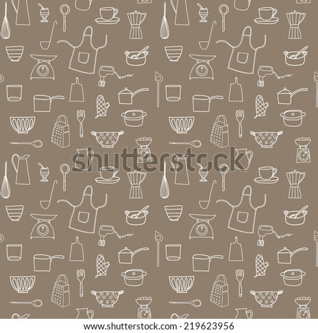 Kitchen equipment isolated vector hand drawn doodle icons in white on a neutral brown paper background - stock vector