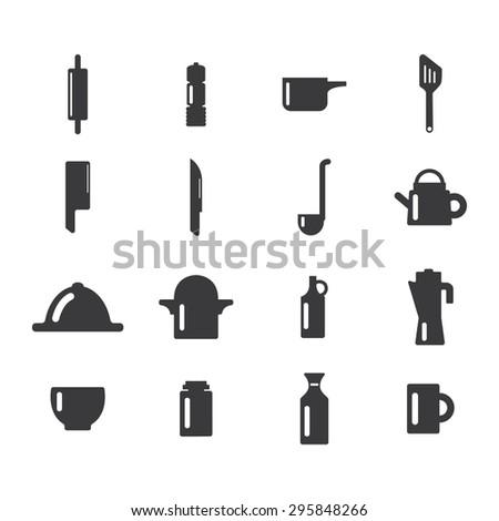 Kitchen equipments icon set - stock vector