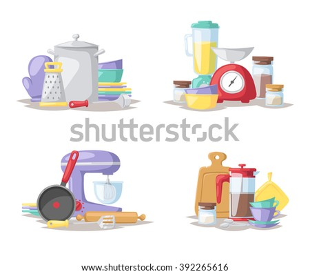 Kitchen food preparation tools and kitchen tools collection vector. Kitchen cook tools set flat vector illustration. - stock vector