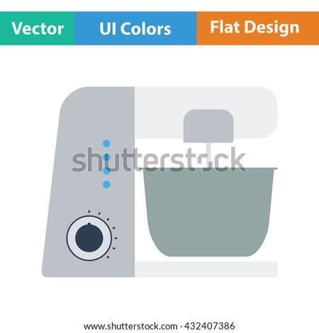 Kitchen food processor icon. Flat design. Vector illustration. - stock vector