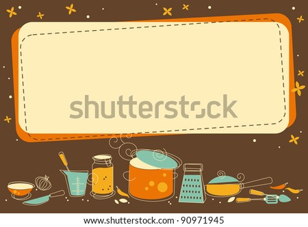 Kitchen Frame in retro style - stock vector