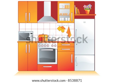 Kitchen furnishing and appliances. Cupboard, built-in oven, stove, microwave, refrigerator, extractor - stock vector