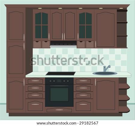 Kitchen furniture. Interior of kitchen. Vector illustration - stock vector