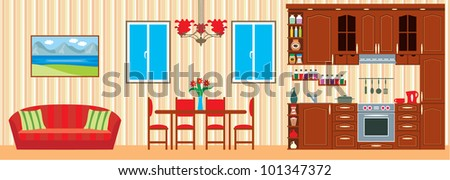 Kitchen furniture. Interior. vector - stock vector