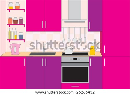 Kitchen furniture. Interior. Vector illustration. no gradient - stock vector
