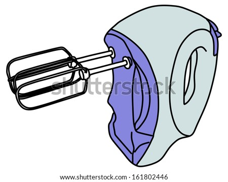 Kitchen hand mixer, vector  illustration - stock vector