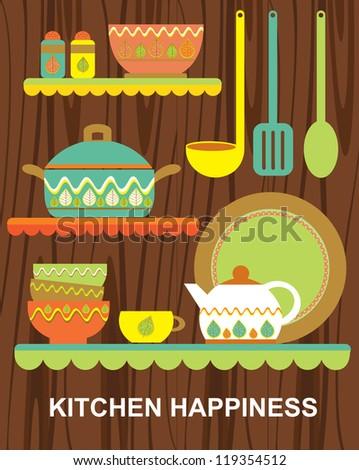 kitchen happiness card design. vector illustration - stock vector