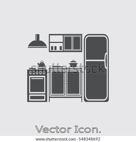 Kitchen icon isolated sign symbol flat stock vector for Kitchen design vector