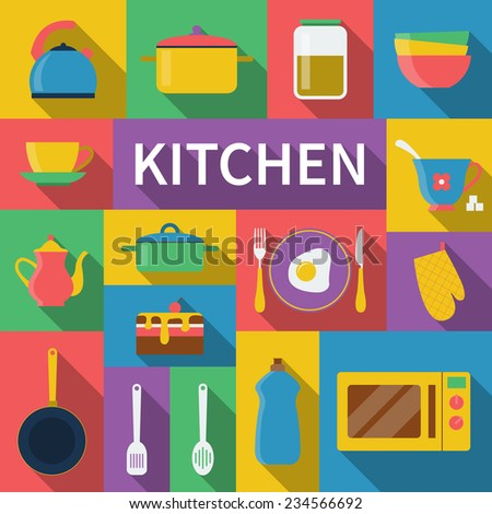 kitchen icon set of cooking utensils in flat style - stock vector