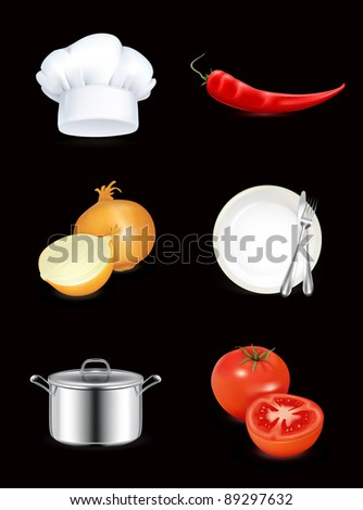 Kitchen, icon set on black - stock vector