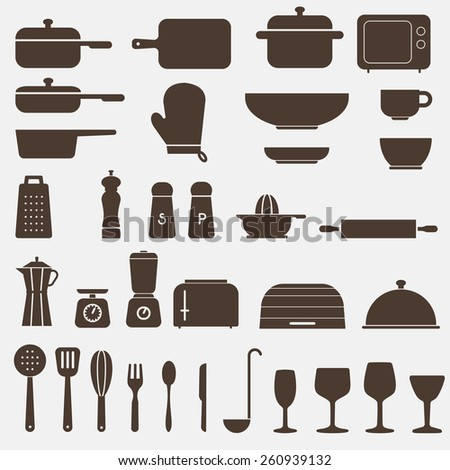 Kitchen Icon Set - Vector Graphics  - stock vector