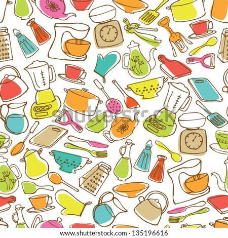 Kitchen icons seamless background - stock vector