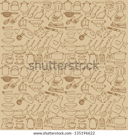 Kitchen icons seamless pattern - stock vector