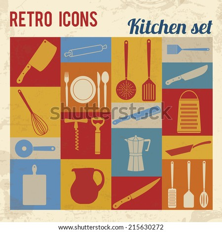 Kitchen icons set. Retro signs with grunge effect, vector illustration