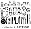 Kitchen icons set (set of icons on a theme kitchen) - stock vector