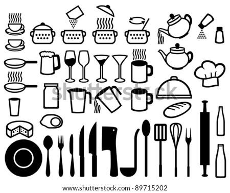 Kitchen icons set (set of icons on a theme kitchen) - stock vector