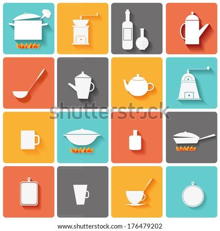 Kitchen icons. Vector illustration. - stock vector