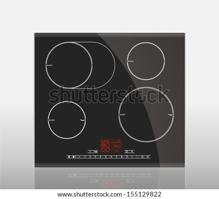 Kitchen - Induction hob, household appliances - stock vector