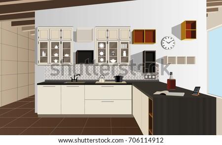 Kitchen Interior Background With Furniture Design Of Modern Symbol Illustration