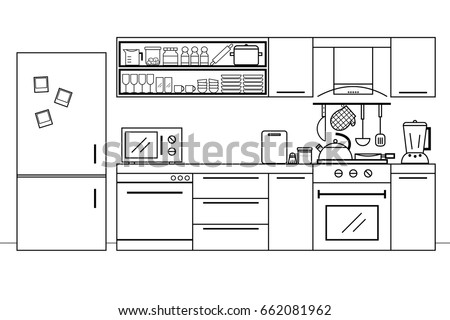 color kitchen utensils modern kitchen furniture interior design utensils stock vector