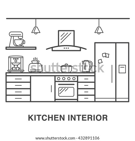 Kitchen interior illustration with house appliances made in line art style.