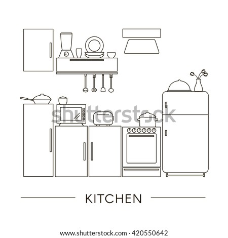 Kitchen Interior in Thin Line Style. Set of Kitchen Furniture and  Appliances Outline Icons. Flat vector illustration.   - stock vector