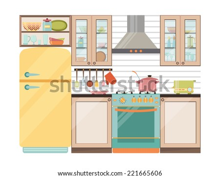 Kitchen interior. Kitchen appliances and utensils in retro style - stock vector