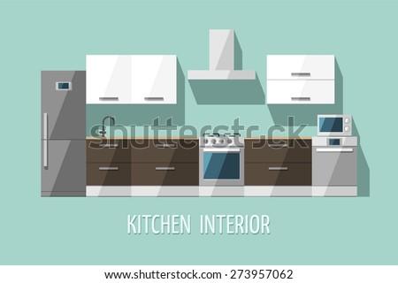 Kitchen interior. Kitchen furniture. Modern trendy design. Flat vector illustration. - stock vector