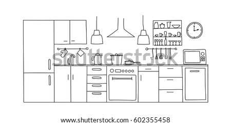 Kitchen Interior Sketches Hand Drawing Front View Contour Vector Illustration Furniture And Equipment