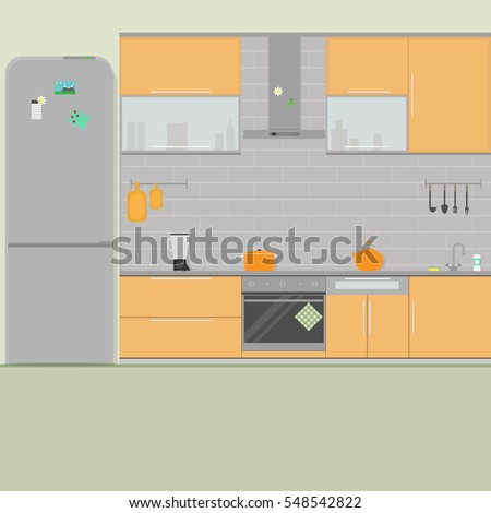 Stock photos royalty free images vectors shutterstock - Lavish white and grey kitchen for hygienic and bright view ...
