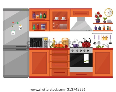 Kitchen interior with furniture, utensils, food and devices. Including fridge, oven, microwave, kettle, pot. Flat style vector icons and illustration isolated on white. - stock vector