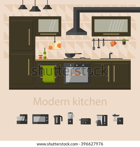 Kitchen interior with kitchenware. Set of kitchen and cooking icons.