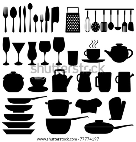 Kitchen objects and utensils in black - stock vector