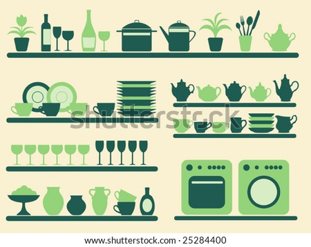 Kitchen objects silhouettes set. Vector illustration. - stock vector