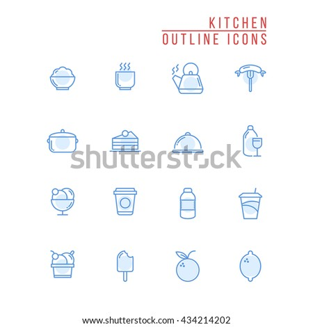 Kitchen Outline Icons Stock Vector 434214202 - Shutterstock