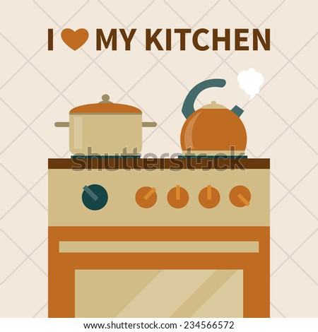 kitchen oven and cooking utensils. flat style vector illustration - stock vector