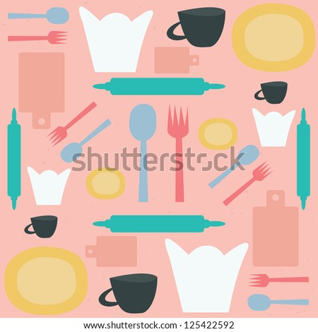 kitchen pattern vector - stock vector