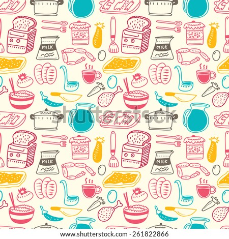 kitchen related object doodle background - stock vector