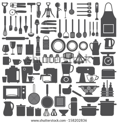 Kitchen related utensils and appliances silhouette icons vector set - stock vector
