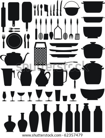 kitchen/restaurant elements (black) - stock vector