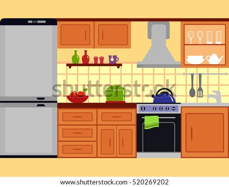 kitchen room interior with furniture set. family modern design cozy colorful cuisine kitchen flat style room interior.