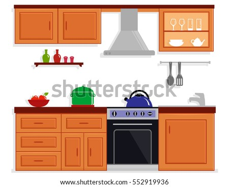 kitchen room isolated interior with modern furniture. cozy kitchen interior.