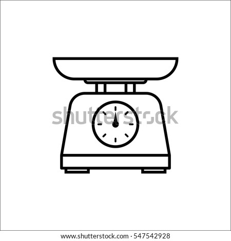kitchen scale bowl kitchen appliances measuring stock vector