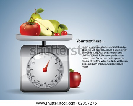 Kitchen Scale with fruits - stock vector