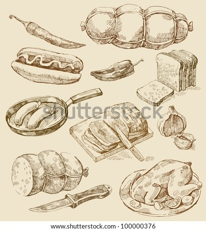 kitchen set - stock vector