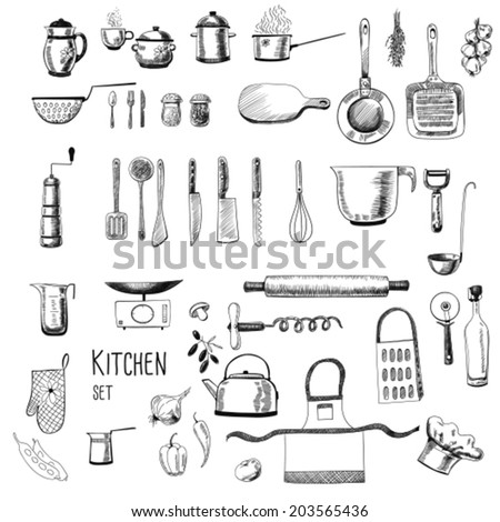 Kitchen set. Large collection of hand - drawn  kitchen related objects on white background.  - stock vector
