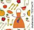 Kitchen set seamless funny pattern - stock vector