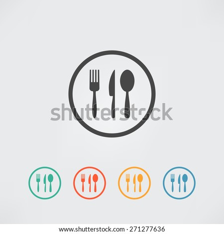Kitchen Set Vector, cutlery symbols - spoon, fork, knife in button - stock vector