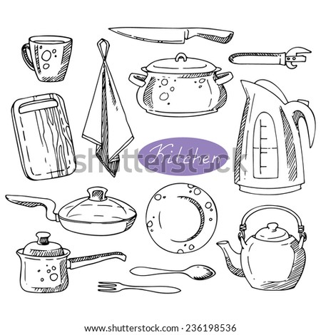 Set cute kitchen spices utensils doodle stock vector for Kitchen set vector