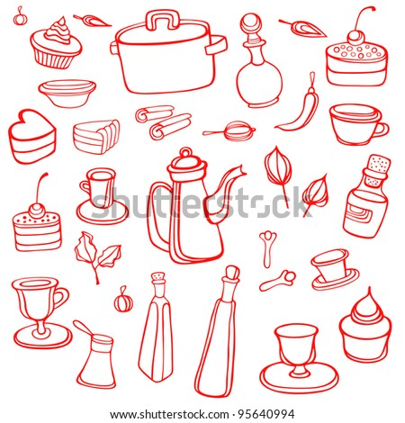 Kitchen set with food and drink